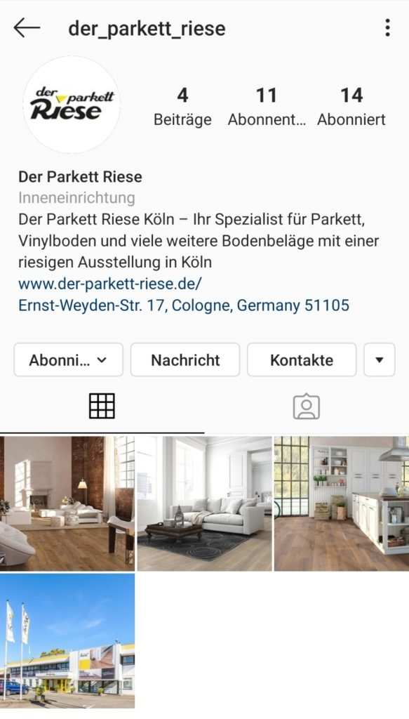 Instagram Account von Der Parkett Riese