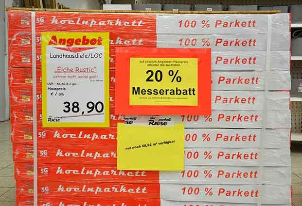 koelnparkett Angebot Messe-Rabatte auf Parkett