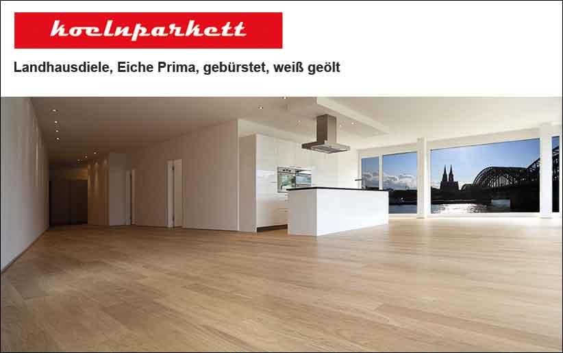 Parkett Trend von Koelnparkett: Landhausdiele Eiche Prima gebürstet, weiß geölt in moderner Kölner Küche