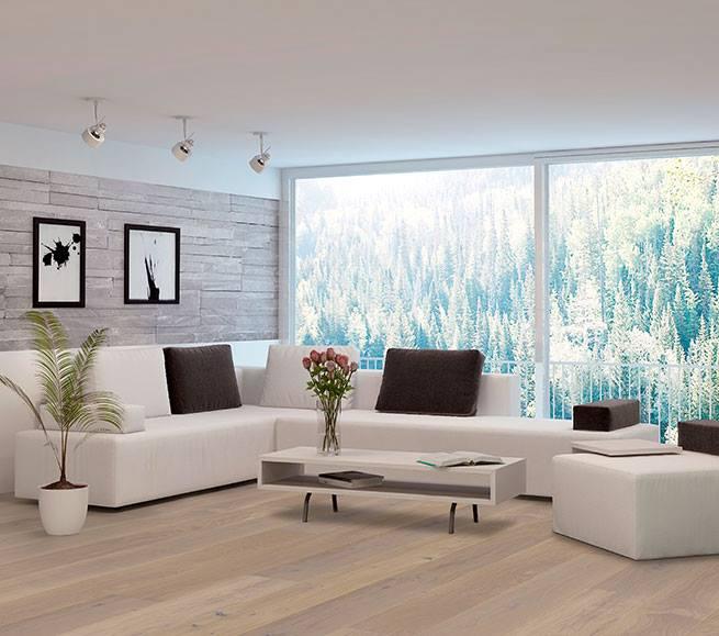 Modernes Wohnen mit einer hellen Landhausdielen von Woodline Parquetry