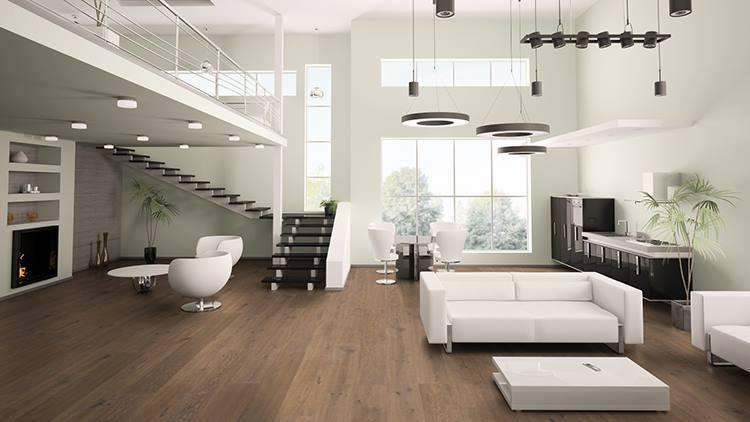 Moderner Raum mit Parkett Landhausdiele Eiche Rossel