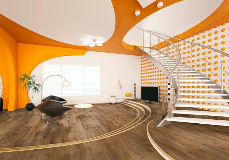 Woodline Parquetry Eiche Caucasus in futuristischem orangenen Loft