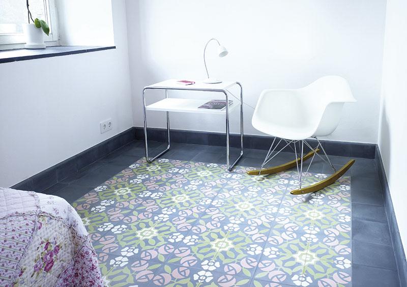 VIA Zementmosaikplatten Rosen-Muster
