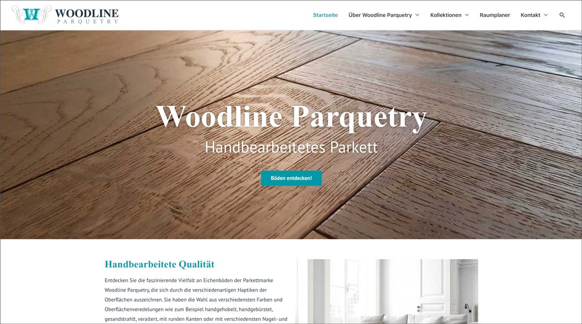 Woodline Parquetry Website mit neuem Look