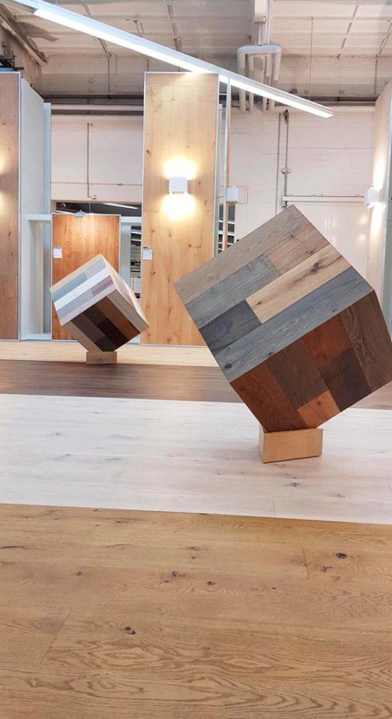 Parkett-Würfel im Woodline Parquetry-Studio