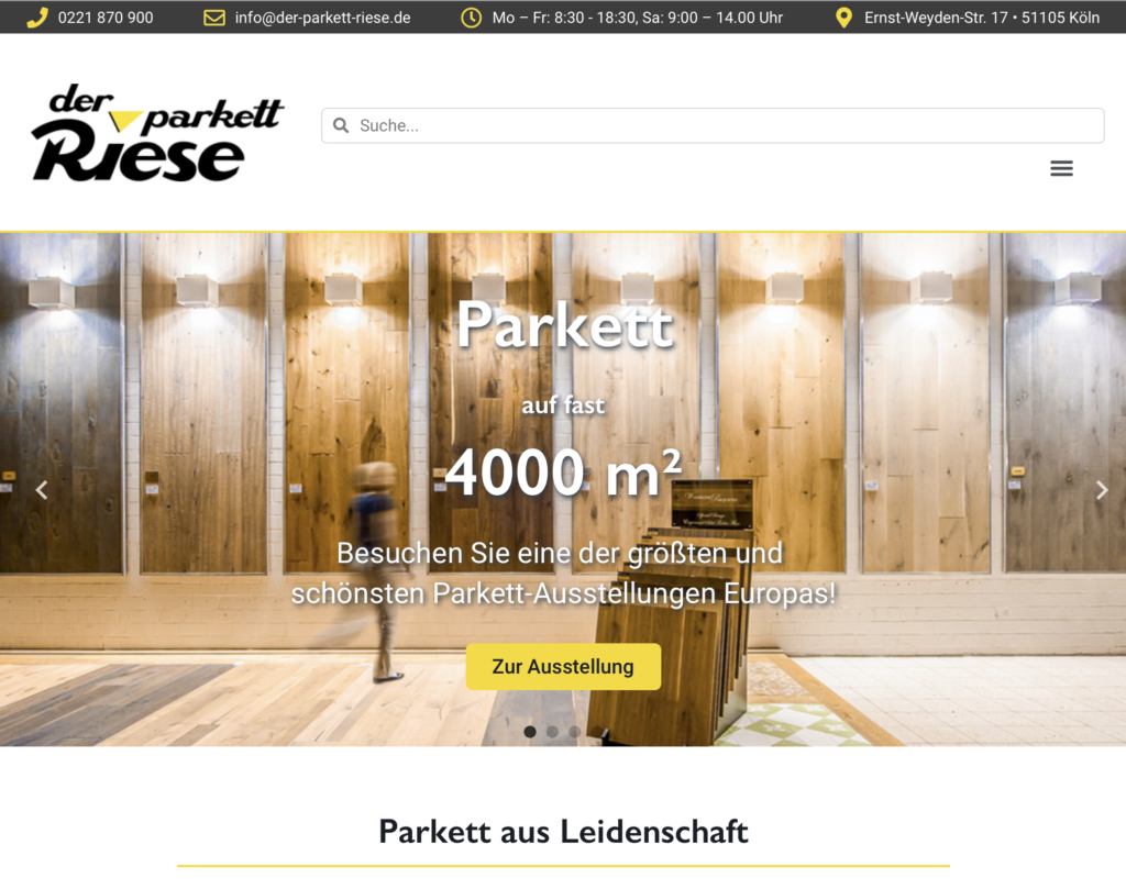 Neue Website von Parkett Riese (Screenshot)