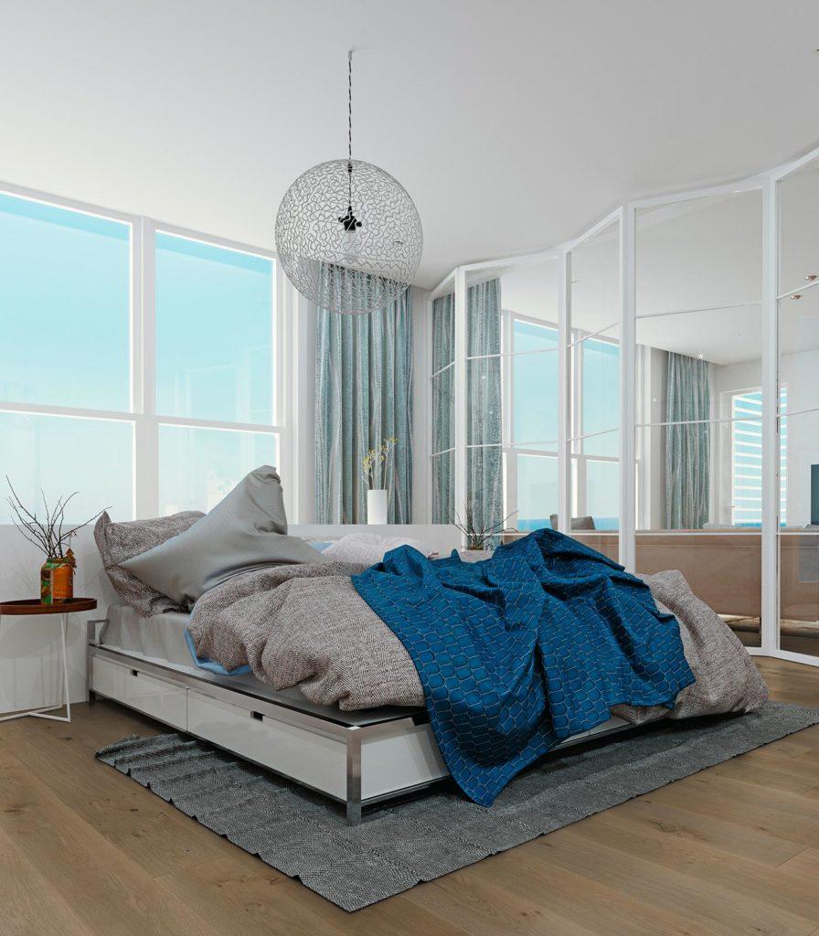 Schlafzimmer mit Parkett Dielen