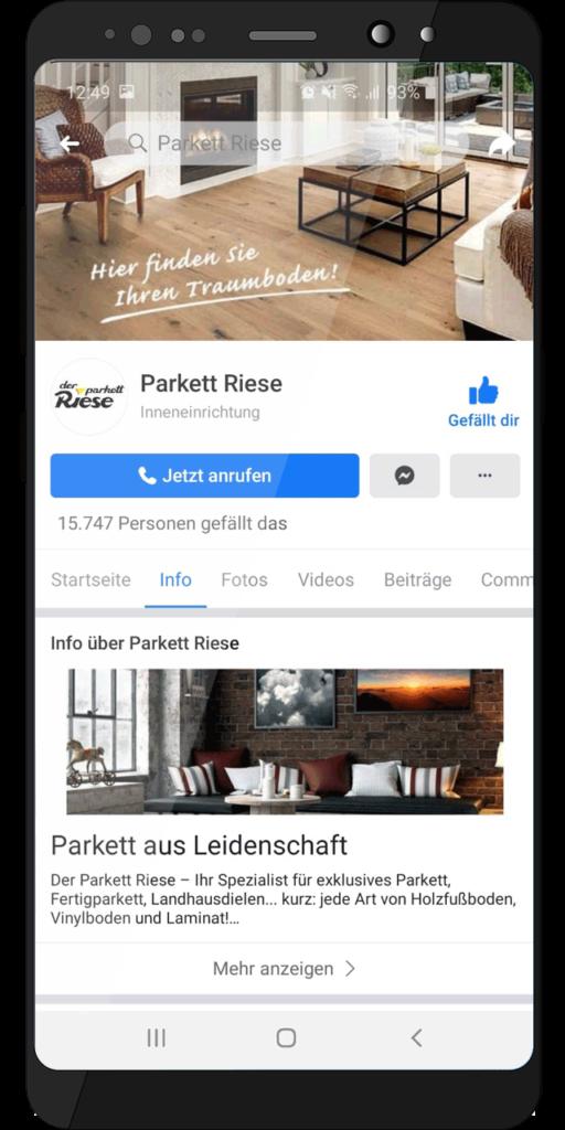 Social Media Profil – Der Parkett Riese auf Facebook (Handy-Ansicht)