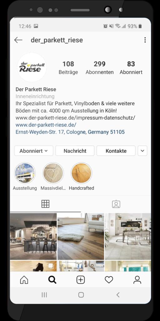 Social Media Profil – Der Parkett Riese auf Instagram (Handy-Ansicht)