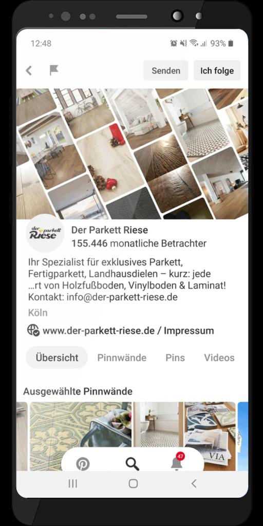 Social Media Profil – Der Parkett Riese auf Pinterest (Handy-Ansicht)