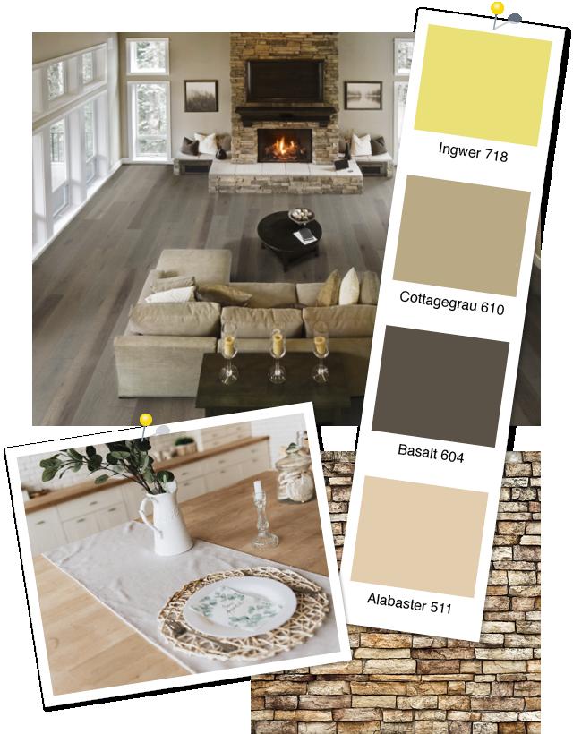 Inspiration Landhausstil: Landhausdiele Eiche Antique Rustic Grey und Wohnfarben